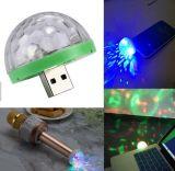 220V 110V 또는 5V 3W 마이크로 USB 접합기를 가진 소형 LED USB RGB 마술 공 음악 소리 통제 KTV DJ 디스코 선잠기 램프 효력 빛