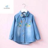 Camicia ricamata popolare del denim di modo per le ragazze dai jeans della mosca