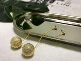 حصريّ مجوهرات نوع ذهب حقيقيّة يصفّى مجوّفة معدنيّة خرزة حلق صخريّة