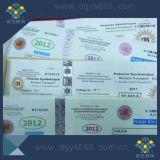 Boletos estampados calientes de la impresión de la seguridad de la Anti-Falsificación del holograma