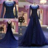 Longue robe de soirée de robe de bleu royal de lacet de chemises longue