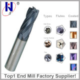 CNC Solid Carbide 3 Flute Roughing End Mill Cutters para corte de liga de alumínio