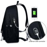 Leuchtstoffrucksack USB-Verbinder-kundenspezifischer Schule-Beutel-Nylonrucksack