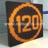 Optraffic a fixé l'écran variable d'Afficheur LED de poteaux de signalisation de vitesse limite