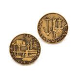 Moneta d'ottone antica della costruzione per il regalo del ricordo