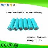 Batería recargable de iones de litio recargable de 2500mAh 3.7V 18650
