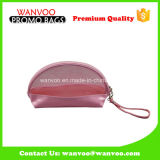 Dumpling Shape Clear PVC Stiching Pink Cosmetic Bag with Handle