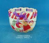 POT di ceramica dipinto a mano del giardino con la decorazione del nastro