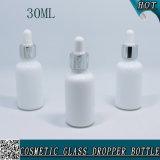 1 once bouteille cosmétique en verre blanche opale de compte-gouttes de 30 ml