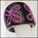 Мода черного цвета циркон уплотнительные кольца из нержавеющей стали