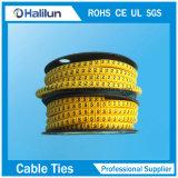 Círculo amarillo marcador de cables para los cables que van de PVC eléctrico