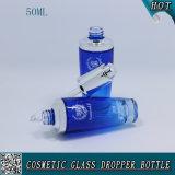 frasco de vidro de pulverização do conta-gotas do vidro de frasco do petróleo essencial da cor 50ml azul