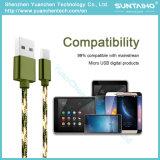 cable trenzado de nylon del cargador de la cuerda del USB del micr3ofono de la nueva tela de los 3m para Samsung