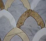 벽을%s 불규칙한 Waterjet Carrara 백색 대리석 모자이크 타일