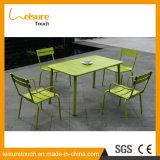 Populärster wasserdichter grüner rechteckiger Tisch-gesetzter Garten-Patio-Kaffee-im Freien wasserdichte Möbel