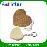 Palillo de madera de la memoria del USB del mecanismo impulsor del flash del USB de la dimensión de una variable del corazón