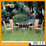 Pátio de vime preto do jardim que janta o jogo da tabela da cadeira do Rattan dos restaurantes do restaurante da mobília