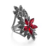 Vagula Negro vendimia del anillo de Rose del Rhinestone de las mujeres de plata de la flor de