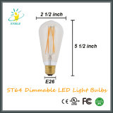 Estilo de oro del nostálgico de la bombilla del filamento de Dimmable LED del color de St64 8W