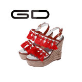 Tassel кожи ботинок Tassel Gdshoe красный заклинивает ботинки