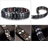 Negro pistola plateada pulseras de titanio para hombre con doble fila