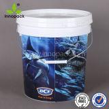 En-Mold-Labeling 15L Virgin PP appâts de pêche seau en plastique avec poignée en métal