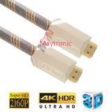 cabo de nylon chapeado ouro de 1.4V/2.0V HDMI