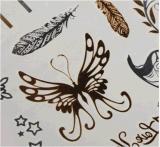 Стикер Tattoo золота пера бабочки металлический водоустойчивый временно
