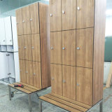 Resistente al agua Maple laminado hpl Piscina Banco con Locker
