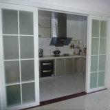 Porte coulissante en aluminium trempé à double verre trempé pour cuisine