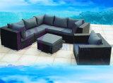 PET Rattan-Sofa-im Freiensofa-gesetzte Garten-Möbel