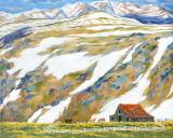 Photographie de mur de montagne de neige Impression de toile de paysage de dessin animé