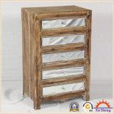Gabinete de acúmulo de armazenamento artesanal de espelho de madeira em Drift Wood Color