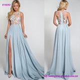 Vestido de noite de seda bonito com as flores 3D na parte superior
