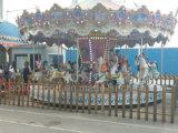 La conduite de parc d'attractions joyeuse vont carrousel de rond