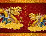 Pétrole chinois Panitng de Styel de deux dragons pour la décoration à la maison