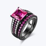 반지 세트를 겹쳐 쌓이는 은 보석 분홍색 CZ