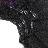 Curly afro en el ser humano de Clip Extensiones de Cabello Cabello Virgen brasileña 7 piezas de color natural 120g/Set