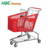 Chariot de supermarché plein panier de magasinage en plastique