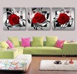Die 3 Panel-Wand-Kunst-Ölgemälde-Rosen-Farbanstrich-Ausgangsdekoration-Segeltuch druckt Abbildungen für Wohnzimmer Mc-255