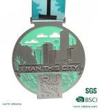 In het groot 3D Antieke Zilveren Lopende Medaille