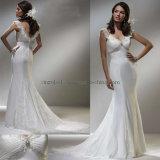 V-cuello de la línea de vestidos de novia de encaje (XZ699)