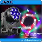 Ilumine el Mini 7*40W LED Wash Zoom moviendo la cabeza de las luces de la etapa