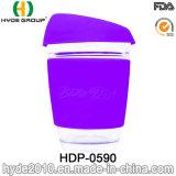 Kop van de Koffie van het Glas van de microgolf de Veilige, de Mok van de Koffie van het Glas 12oz/8oz met Deksel (hdp-0590)