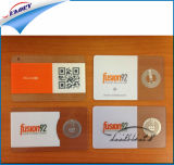 Afgedrukt Plastic Transparant Adreskaartje met Spaander