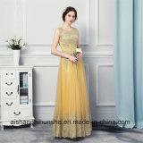 A - ligne robes de soirée sans manche Appliqued par lacet de robes de soirée d'or