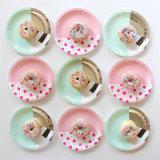Diseño de Hot Stamping plato de papel para decoraciones tipo fiesta de cumpleaños
