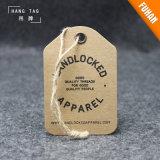 Etiqueta de la caída del papel de Kraft con el cáñamo para la ropa