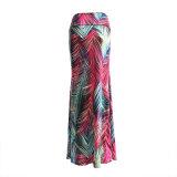 Outono & Vencedor Western Style High-Waist Elastic Slim Long Skirt