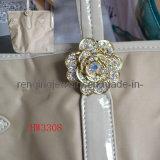 Эбу АБС Rhinestone цветочный сплава фиксаторы замка ремня безопасности для леди мешки (HW3308)